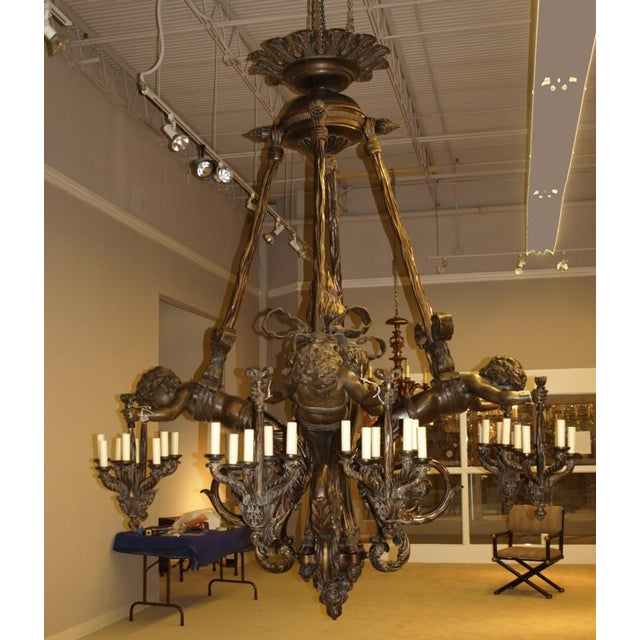 Gold Antique Chandelier. Wood and bronze chandelier with cherubs For Sale - Image 8 of 8