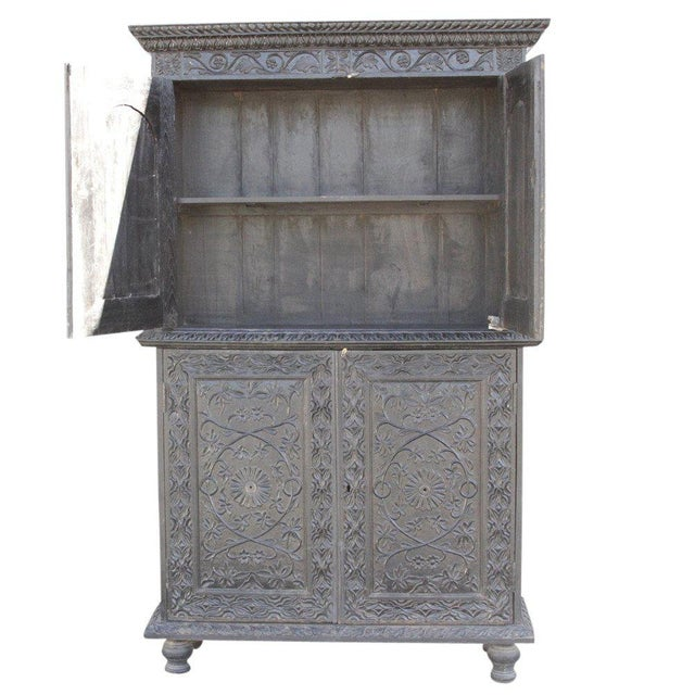 Anglo-Indian Carved Indo Portuguese Cabinet For Sale - Image 5 of 6
