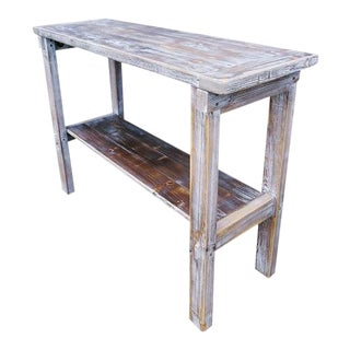 Reclaimed Distressed Pine Wood Whitewashed Console Side Table For Sale