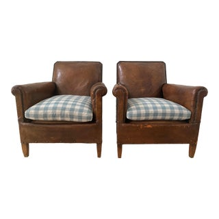 French Art Deco Library Leather Club Chairs With Nailhead Details - a Pair For Sale