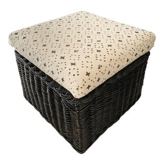Early 20th Century Vintage Black Wicker Ottoman For Sale
