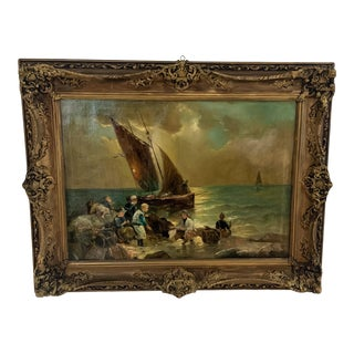 Antique Fishing Boat Near the Shore Maritime Painting, Framed For Sale