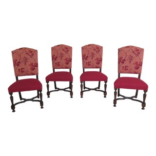 Set of 4 Hickory Chair Co Upholstered Dining Room Chairs For Sale