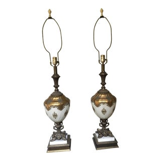 Empire Lamps on Bronze Marble Pedestal - A Pair