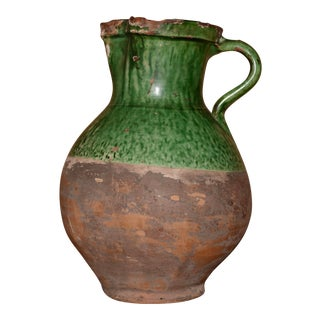 19th Century Vintage French Green Glazed Water Pitcher For Sale