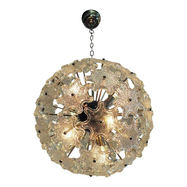Last Call 1970s Murano White Floral Sputnik Chandelier For Sale