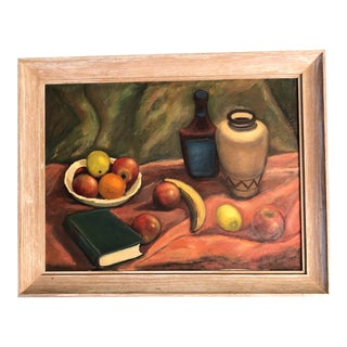 Original Vintage Modernist Still Life Painting Lindenmayer For Sale