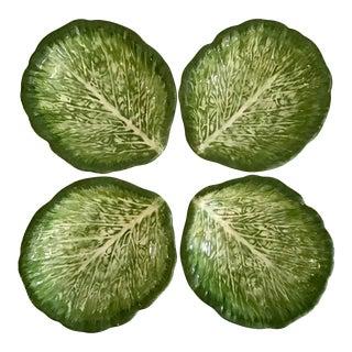 Ceramic Green Lettuce Leaf Shape Dish - Set of 4 For Sale