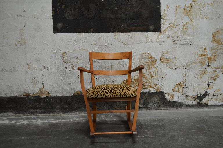 Comfortable Rocking Chair Featuring Newly Upholstered Seat In A Leopard  Mohair Velvet. Crafted Of Golden