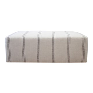 Custom Made Upholstered Cube Style Cocktail Ottoman in Vintage Stripe For Sale