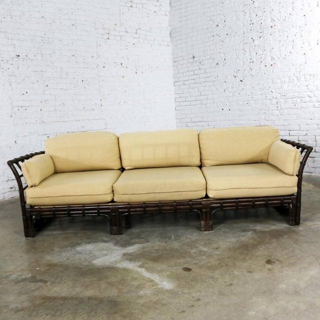 Asian Brown Jordan Windowpane Dark Brown Rattan Sofa With Straw Colored Cushions For Sale - Image 3 of 13