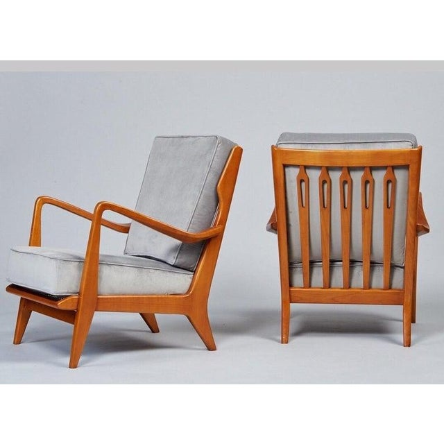 1950s 1950s Vintage Gio Ponti Exquisite Pair of Sculptural Armchairs- A Pair For Sale - Image 5 of 11