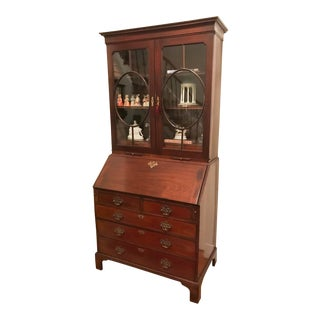 18th Century George III Mahogany Bureau Bookcase For Sale