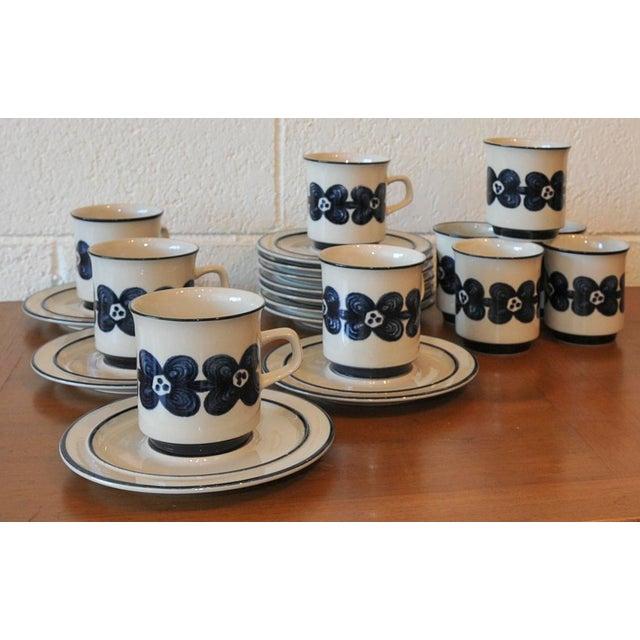 Mid-Century Design Four Cobalt Mugs & Saucers - 10 - Image 2 of 9