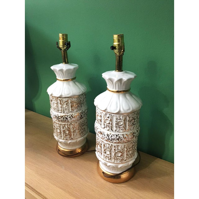 Mid-Century Modern Vintage 1950s White and Gold Table Lamps - a Pair For Sale - Image 3 of 10
