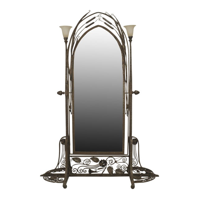 French Art Deco Wrought Iron Cheval Mirror For Sale