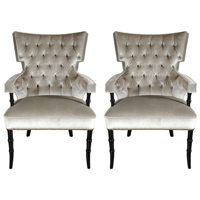 Platinum Pair of Mid-Century Modernist Tufted Klismos Chairs with Stylized Bamboo Legs For Sale - Image 8 of 8