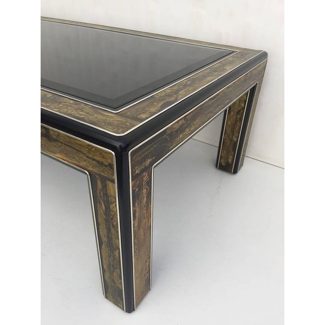Mastercraft 1970s Mid-Century Modern Bernhard Rohne for Mastercraft Acid Etched Brass Coffee Table For Sale - Image 4 of 8