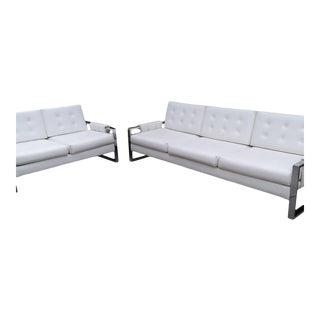 1970s Milo Baughman Style Chrome Flat Bar Tufted Sofa & Loveseat - a Pair For Sale