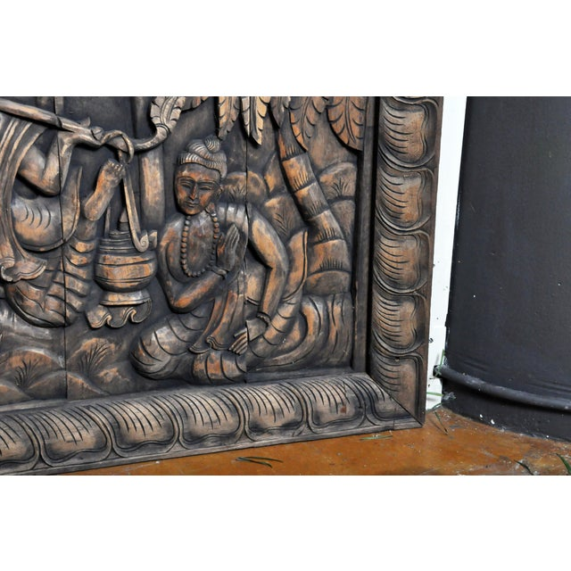 2010s Monumental Southeast Asian Teakwood Figurative Panel of Buddha For Sale - Image 5 of 13