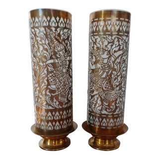 1940s Vintage Hand Cut Brass and Glass Cylinder Table Lamps - Set of 2 For Sale