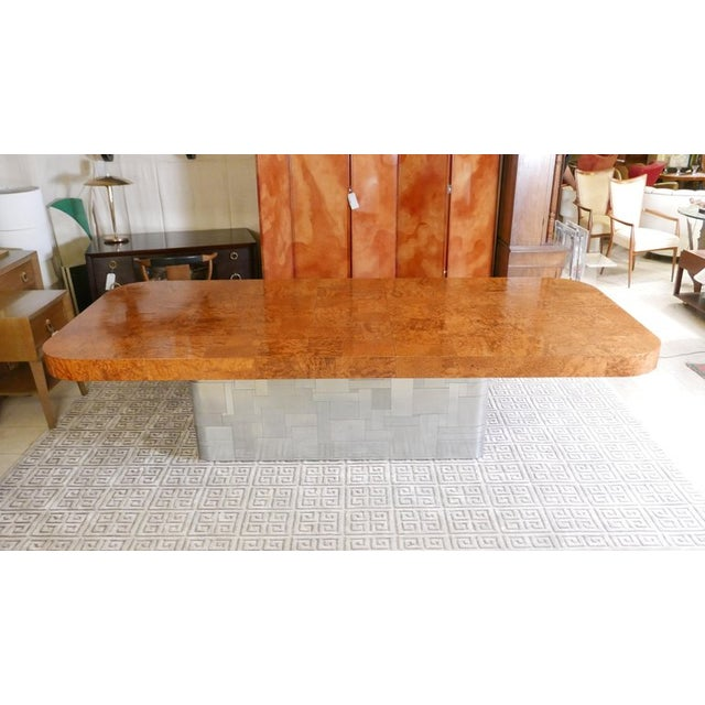 """Monumental Signed Paul Evans Burled & Chrome """"Cityscape"""" Extension Dining Table For Sale - Image 12 of 13"""
