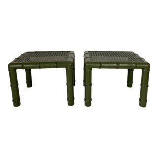 Lacquered Faux Bamboo Benches - A pair For Sale