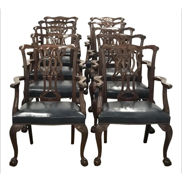 Baker Furniture Chippendale Style Ball & Claw Arm Chairs - Set of 10 For Sale - Image 10 of 10
