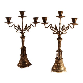 Art Nouveau Bronze Candelabras - A Pair For Sale