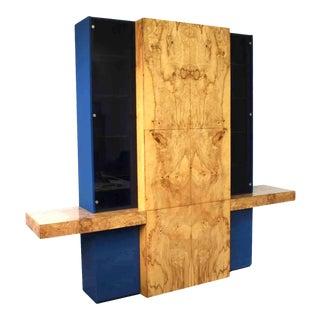 Vladimir Kagan Burl Wood Wall Unit Cabinet Sideboard For Sale