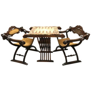 Onyx Backgammon Table & Savonarola Chairs - A Pair For Sale