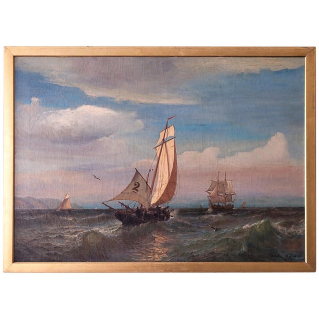 """""""Regatta on a Choppy Sea"""" Oil Painting on Canvas by Julian O. Davidson, Dated 1877 For Sale - Image 13 of 13"""