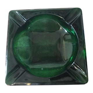 Emerald Green Glass Cigar Ashtray