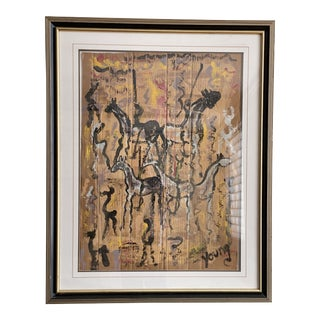 1980s Abstract Mixed-Media Painting by Purvis Young, Framed For Sale