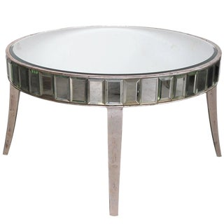 Shimmering American Mirrored Cocktail Table With Silver Giltwood Supports For Sale