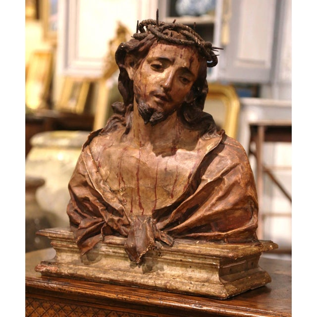 Italian 18th Century Italian Carved Paper Polychrome Mâché Christ Bust on Wooden Stand For Sale - Image 3 of 9