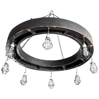Late 19th Century Industrial 8 Light Metal Chandelier