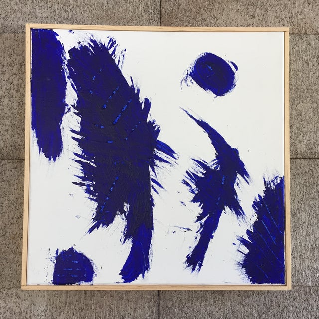 Blue on White Framed Abstract Landscape Painting For Sale - Image 9 of 9