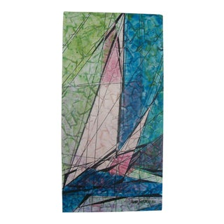 Mid-Century Cubist Sailboat Oil on Canvas Painting by Magnus Engstrom