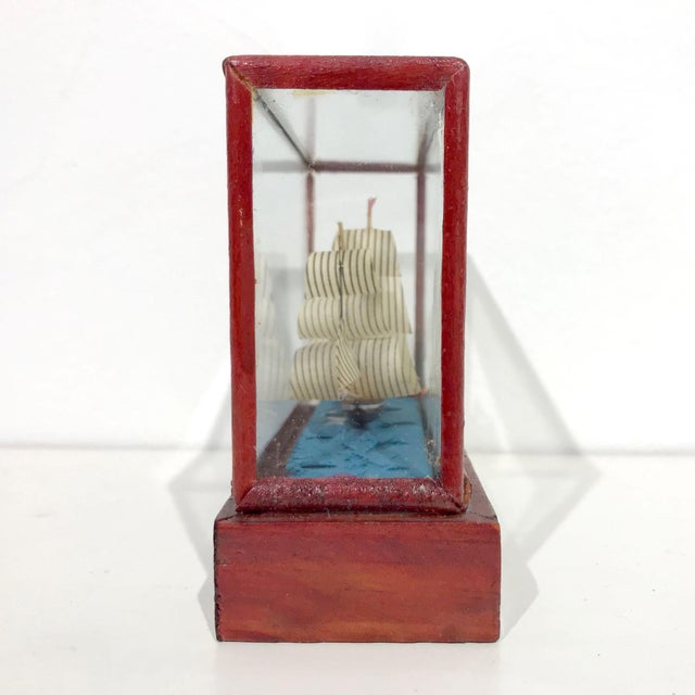 Miniature Model Sailing Ship in Wood & Glass Case - Image 3 of 11