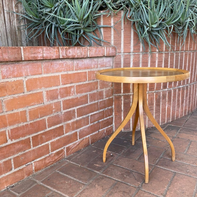 1960s Kipp Stewart for Drexel Round Leathertop End Table For Sale - Image 11 of 12