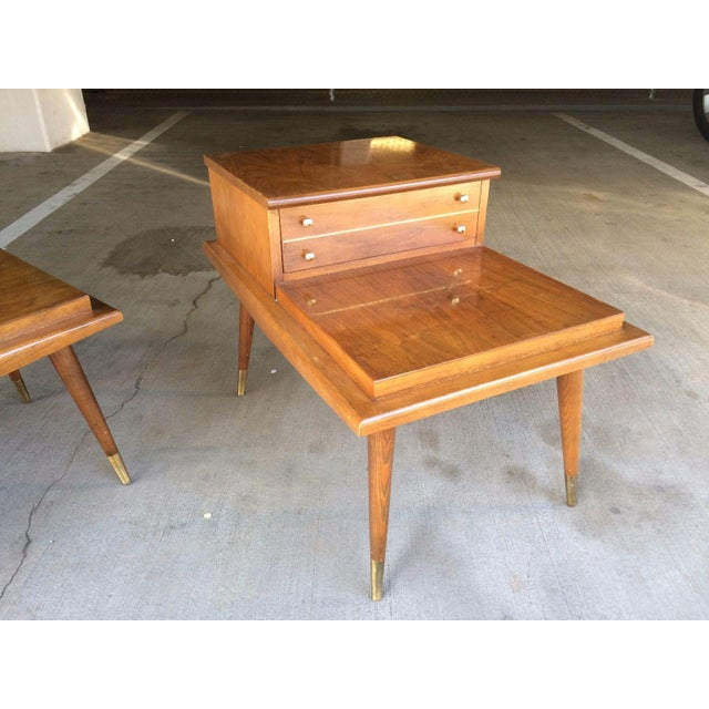 Mid-Century Step Side Tables - A Pair For Sale - Image 5 of 10