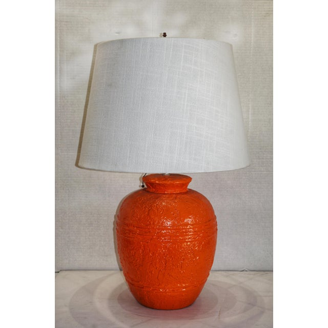 Ceramic 1970s Vintage Orange Lacquered Pottery Table Lamp For Sale - Image 7 of 8