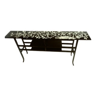 Contemporary Hand Painted Branch Detailed Black Console Table For Sale