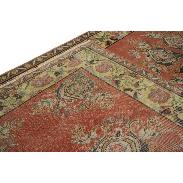 Mid 20th Century Vintage Turkish Oushak Gallery Rug Runner - 4'6 X 9'6 For Sale - Image 5 of 8