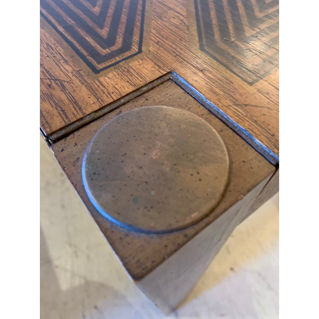 Inlaid Wood Rectangular End Table With Geometric Decoration For Sale - Image 10 of 13
