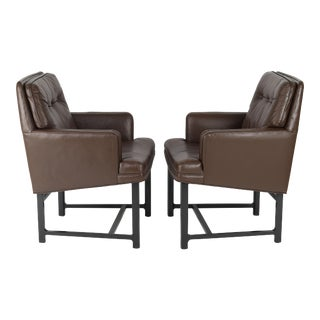 PAIR OF EDWARD WORMLEY FOR DUNBAR ARMCHAIRS IN LEATHER AND MAHOGANY, CIRCA 1950S