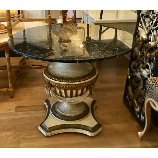 Antique Carved Italian Paint Decorated Pedestal Table W Blue Granite Top. Excellent breakfast or center table with dark...