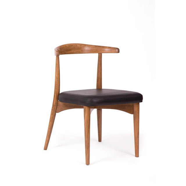 1960s Lawrence Peabody Oak Walnut and Leather Dining Chair For Sale - Image 11 of 11