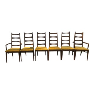 1970s Thomasville Ladderback Dining Chairs - Set of 6 For Sale